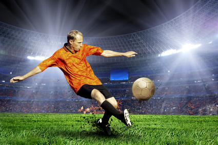 Fussballspieler auf dem Feld