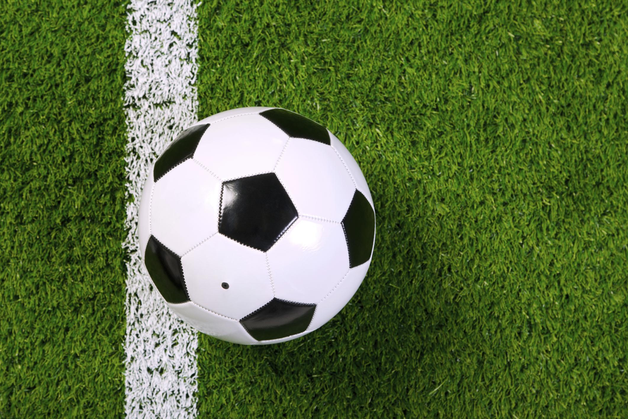 Fußball auf Torlinie